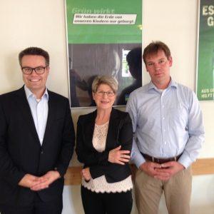 Im Gespräch zur Landespolitik, Handwerkspolitik und TTIP. Dr. Tobias Lindner (Grüne), Liliana Gatterer (BDS), Ralf Vowinkel (BDS). Foto: Bund der Selbständigen Deutschland